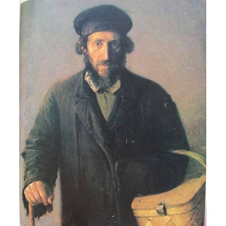 An Old Man with A Basket by Yehuda Pen - Jewish Art Oil Painting Gallery