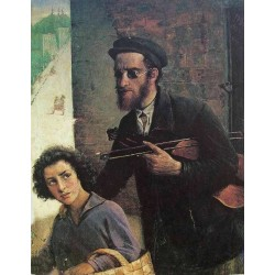 Blind Violin by Yehuda Pen - Jewish Art Oil Painting Gallery
