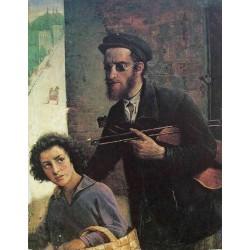Blind Violin by Yehuda Pen - Jewish Art Oil Painting Gallery