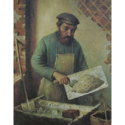 Plasterer, 1920 by Yehuda Pen - Jewish Art Oil Painting Gallery