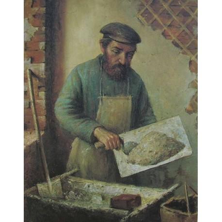 Plasterer, 1920 by Yehuda Pen - Jewish Art Oil Painting Gallery