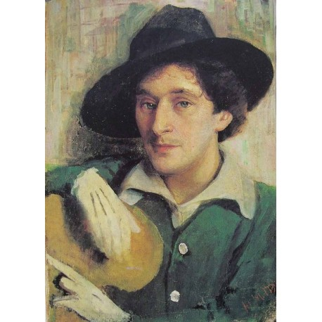 Portrait of Marc Chagall, 1915 by Yehuda Pen - Jewish Art Oil Painting Gallery