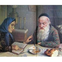 Saturday Uzhin, 1927 by Yehuda Pen - Jewish Art Oil Painting Gallery