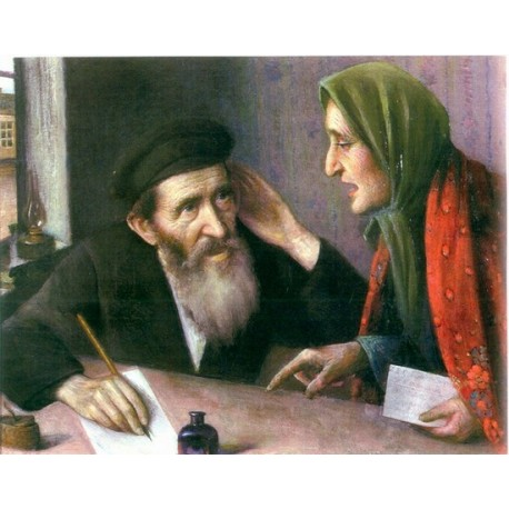 Writing a Letter by Yehuda Pen - Jewish Art Oil Painting Gallery