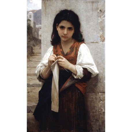 Tricoteuse, 1879 by William Adolphe Bouguereau - Art gallery oil painting reproductions