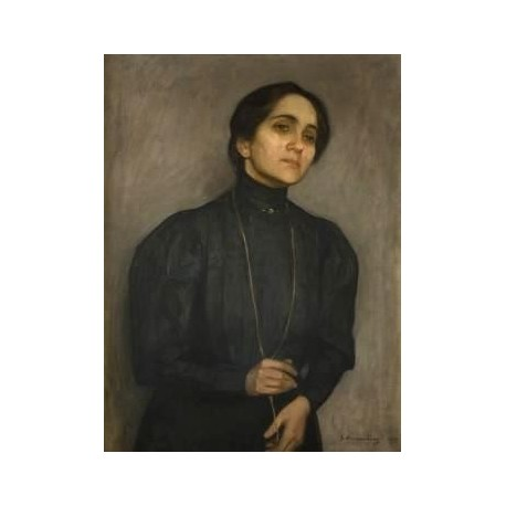 Portrait Marni Feldmanowej by Samuel Hirszenberg- Jewish Art Oil Painting Gallery