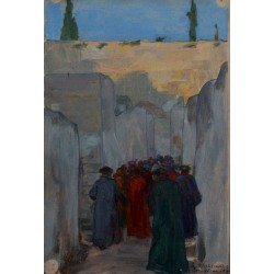 On the Way to the Western Wall, 1908 by Samuel Hirszenberg- Jewish Art Oil Painting Gallery
