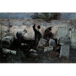 The Jewish Cemetery, 1892 by Samuel Hirszenberg- Jewish Art Oil Painting Gallery