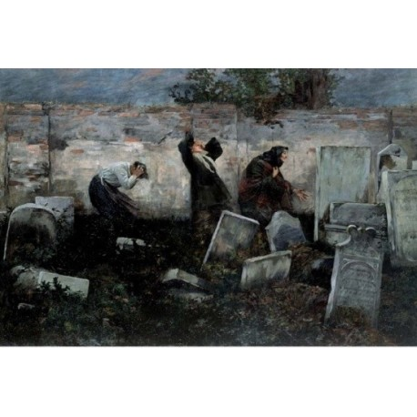 The Jewish Cemetery, 1892 by Samuel Hirszenberg- Jewish Art Oil Painting Gallery