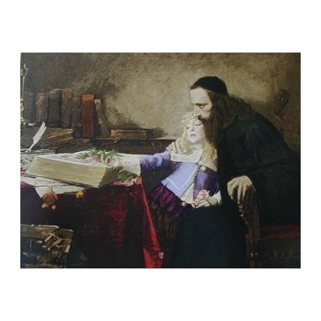 Instructing the Young Spinoza by Samuel Hirszenberg- Jewish Art Oil Painting Gallery