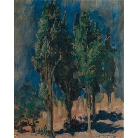 Landscape with Trees by Leopold Pilichowski - Jewish Art Oil Painting Gallery