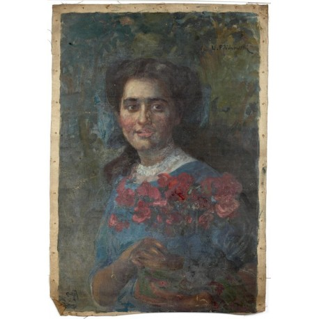 Portrait of a Girl Holding Flowers by Leopold Pilichowski - Jewish Art Oil Painting Gallery