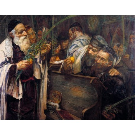 Sukkot by Leopold Pilichowski - Jewish Art Oil Painting Gallery