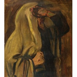 Jew Wrapped in a Prayer Shawl by Leopold Pilichowski - Jewish Art Oil Painting Gallery