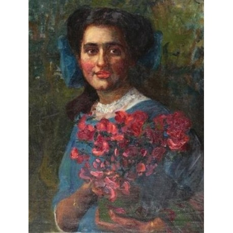 Portrait of a Woman by Leopold Pilichowski - Jewish Art Oil Painting Gallery