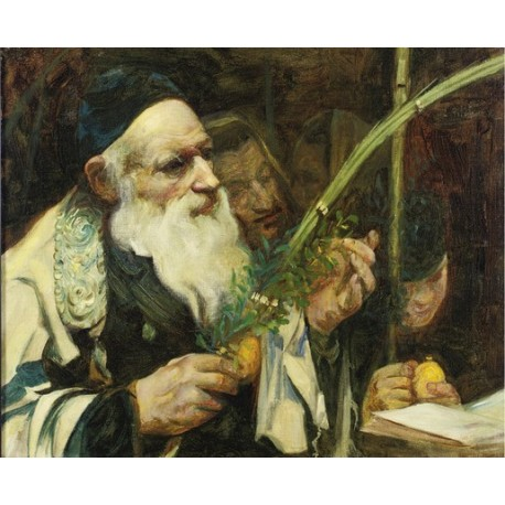 Examining the Lulav by Leopold Pilichowski - Jewish Art Oil Painting Gallery