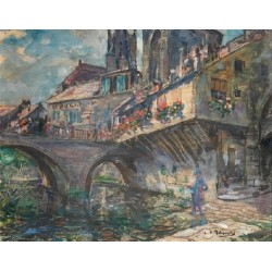 Figure by the Bridge by Leopold Pilichowski - Jewish Art Oil Painting Gallery