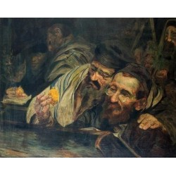 Succot II by Leopold Pilichowski - Jewish Art Oil Painting Gallery