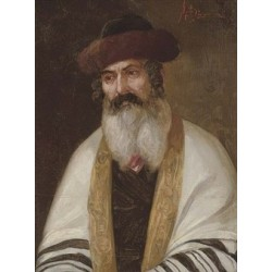 A Rabbi Wearing a Streimel and Tallis by Josef Johann Suss - Jewish Art Oil Painting Gallery