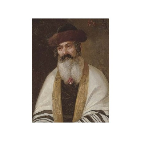 A Rabbi Wearing a Streimel and Tallis by Josef Johann Suss - Jewish Art Oil Painting Gallery