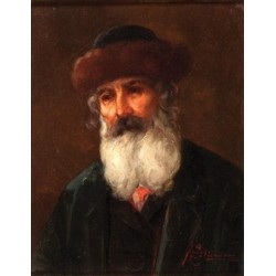Figure of a Rabbi by Josef Johann Suss - Jewish Art Oil Painting Gallery
