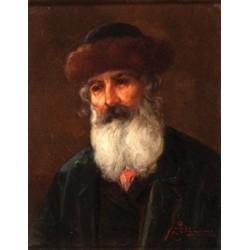 Figure of a Rabbi by Josef Johann Suss - Jewish Art Oil Painting Gallery