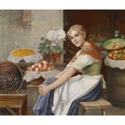 Fresh Fruit by Josef Johann Suss - Jewish Art Oil Painting Gallery