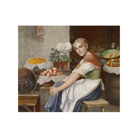 Fresh Fruit by Josef Johann Suss - Jewish Art Oil Painting Gallery