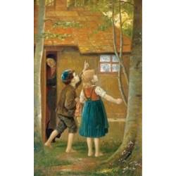 Jewish Children in the Garden by Josef Johann Suss - Jewish Art Oil Painting Gallery