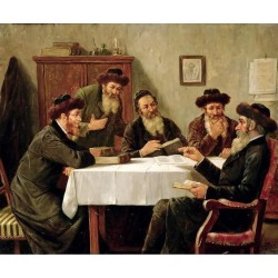 Jewish Scholars Debating by Josef Johann Suss - Jewish Art Oil Painting Gallery