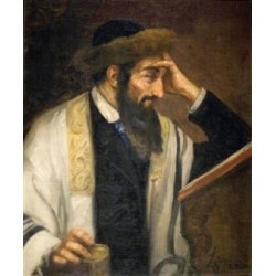 Rabbi Reading by Josef  Johann Suss - Jewish Art Oil Painting Gallery