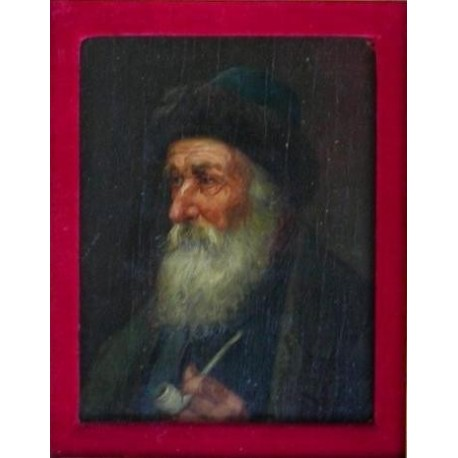 Rabbi with Streimel and Pipe Suss by Josef Johann Suss - Jewish Art Oil Painting Gallery