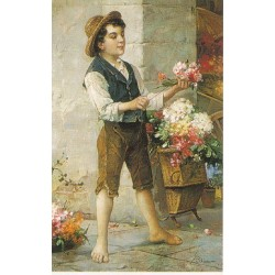 The Flower Seller by Josef  Johann Suss - Jewish Art Oil Painting Gallery