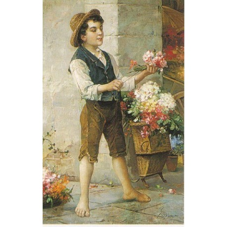 The Flower Seller by Josef Johann Suss - Jewish Art Oil Painting Gallery