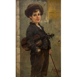 The Young Jewish Violinist by Josef  Johann Suss - Jewish Art Oil Painting Gallery