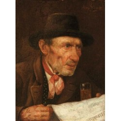 The Daily News by Josef Johann Suss - Jewish Art Oil Painting Gallery