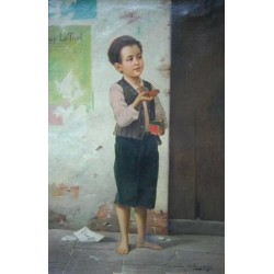 Young Match Seller by Josef  Johann Suss - Jewish Art Oil Painting Gallery