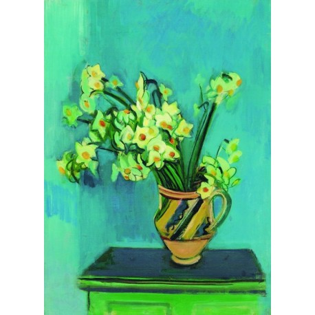 Deffodils in Cermic Jug by Rudolf Levy - Jewish Art Oil Painting Gallery
