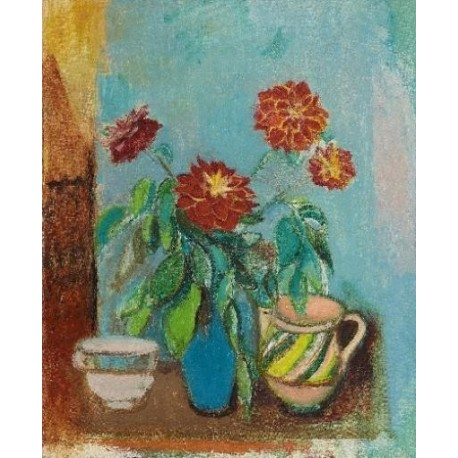 Dahlias in Blue Vase, 1942 by Rudolf Levy - Jewish Art Oil Painting Gallery