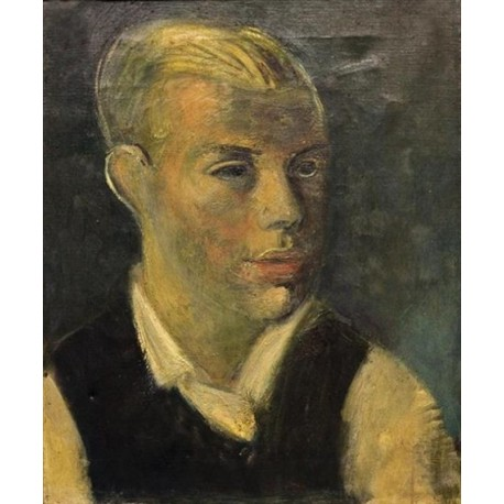 Male Portrait by Rudolf Levy - Jewish Art Oil Painting Gallery