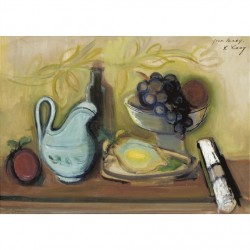 Still Life with Blue Pitcher by Rudolf Levy - Jewish Art Oil Painting Gallery