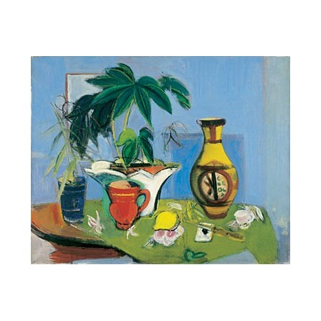 Still Life with Yellow Vase, 1943 by Rudolf Levy - Jewish Art Oil Painting Gallery