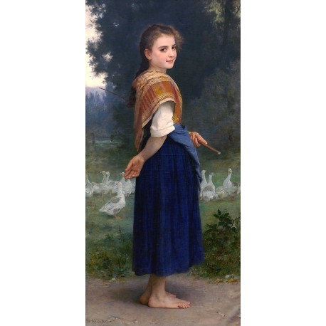 The Goose Girl 1891 by William Adolphe Bouguereau - Art gallery oil painting reproductions