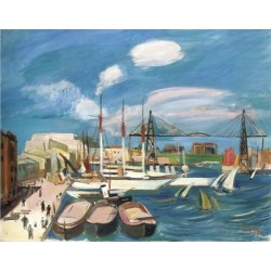 The Port of Marceille by Rudolf Levy - Jewish Art Oil Painting Gallery