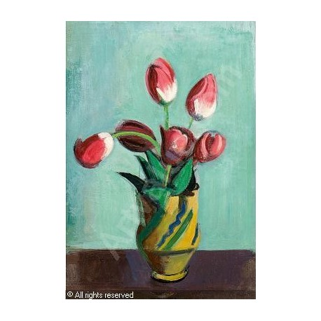 Tulips in Ceramic Jug by Rudolf Levy - Jewish Art Oil Painting Gallery