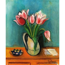 Vase Mit Roten Tulpen by Rudolf Levy - Jewish Art Oil Painting Gallery