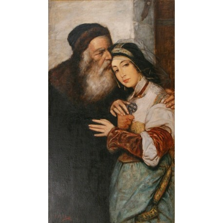 Shylock and Jessica, 1887 by Maurycy Gottlieb- Jewish Art Oil Painting Gallery