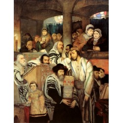 Jews Praying in the Synagogue on Yom Kippur by Maurycy Gottlieb- Jewish Art Oil Painting Gallery