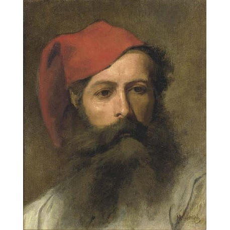 Portrait Of A Man With A Turkish Hat By Maurycy Gottlieb