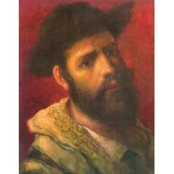 Portrait of a Rabbi II by Maurycy Gottlieb- Jewish Art Oil Painting Gallery
